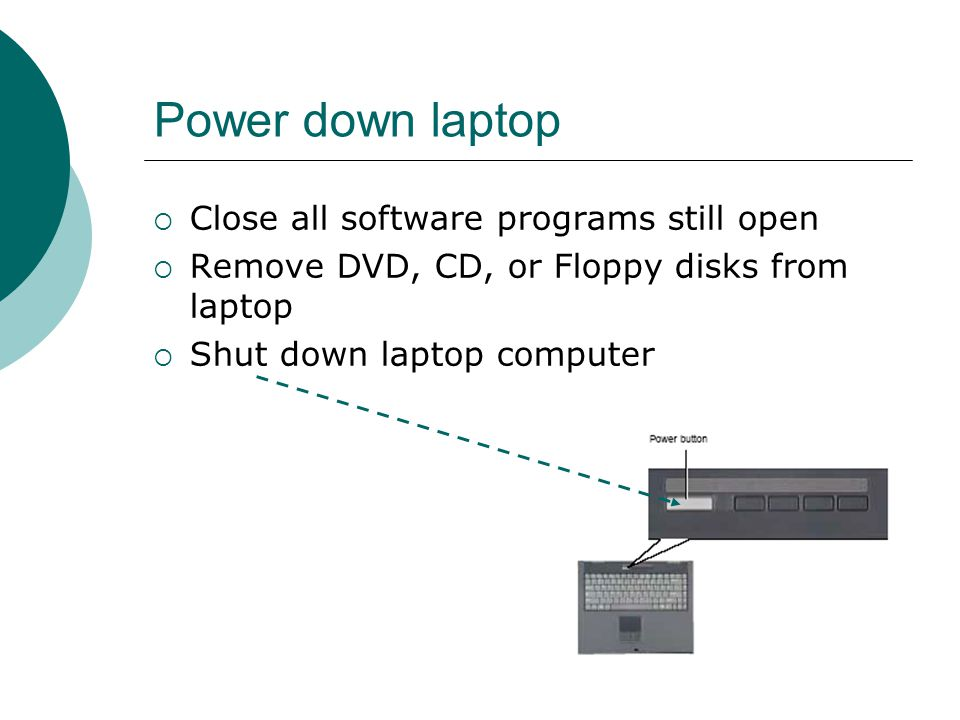 Power down laptop  Close all software programs still open  Remove DVD, CD, or Floppy disks from laptop  Shut down laptop computer