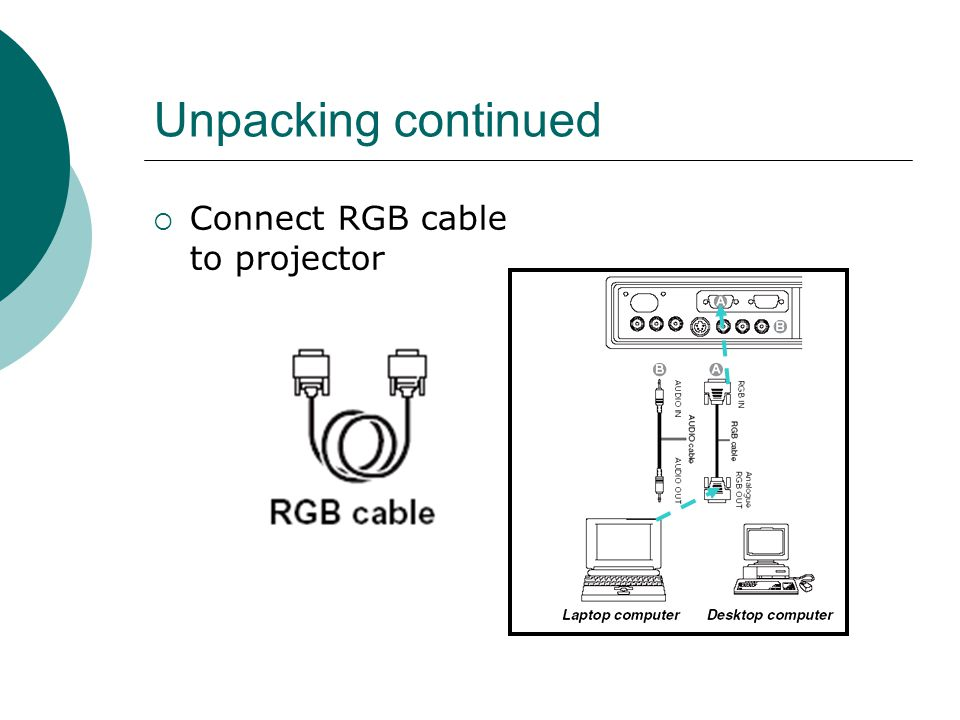 Unpacking continued  Connect RGB cable to projector