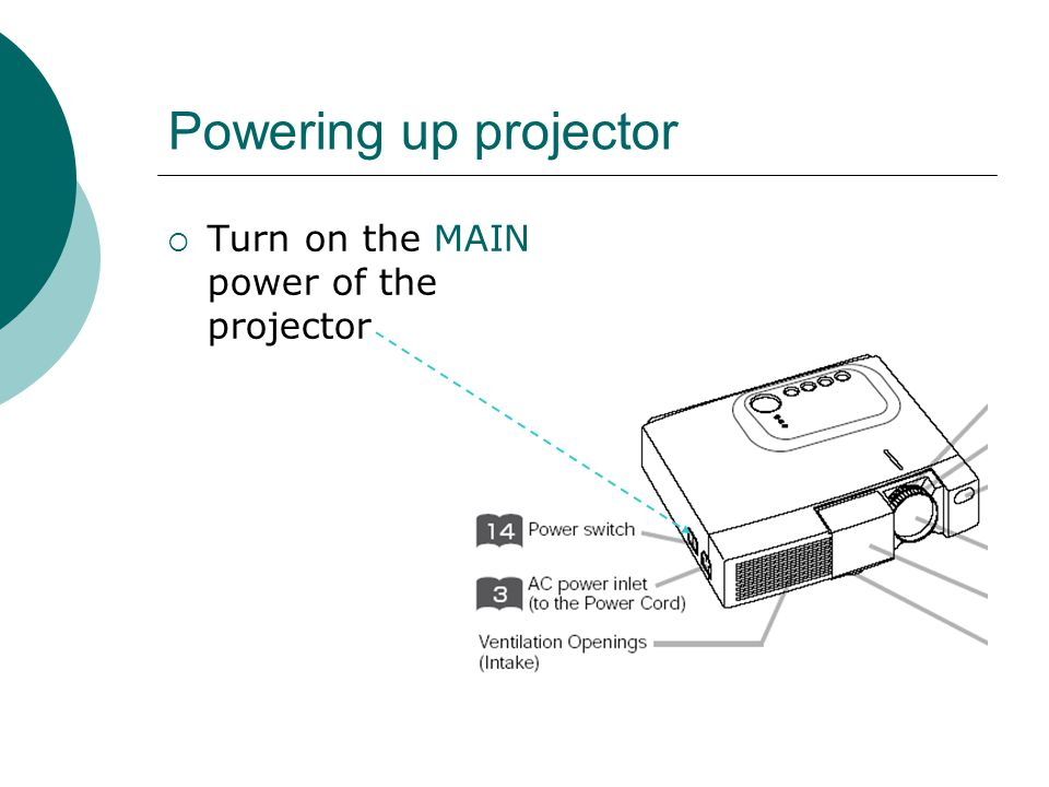 Powering up projector  Turn on the MAIN power of the projector