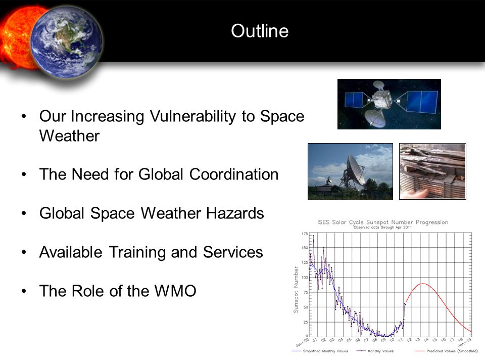 Outline Our Increasing Vulnerability to Space Weather The Need for Global Coordination Global Space Weather Hazards Available Training and Services The Role of the WMO