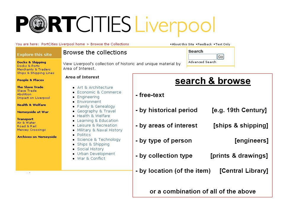 search & browse - free-text - by historical period [e.g.