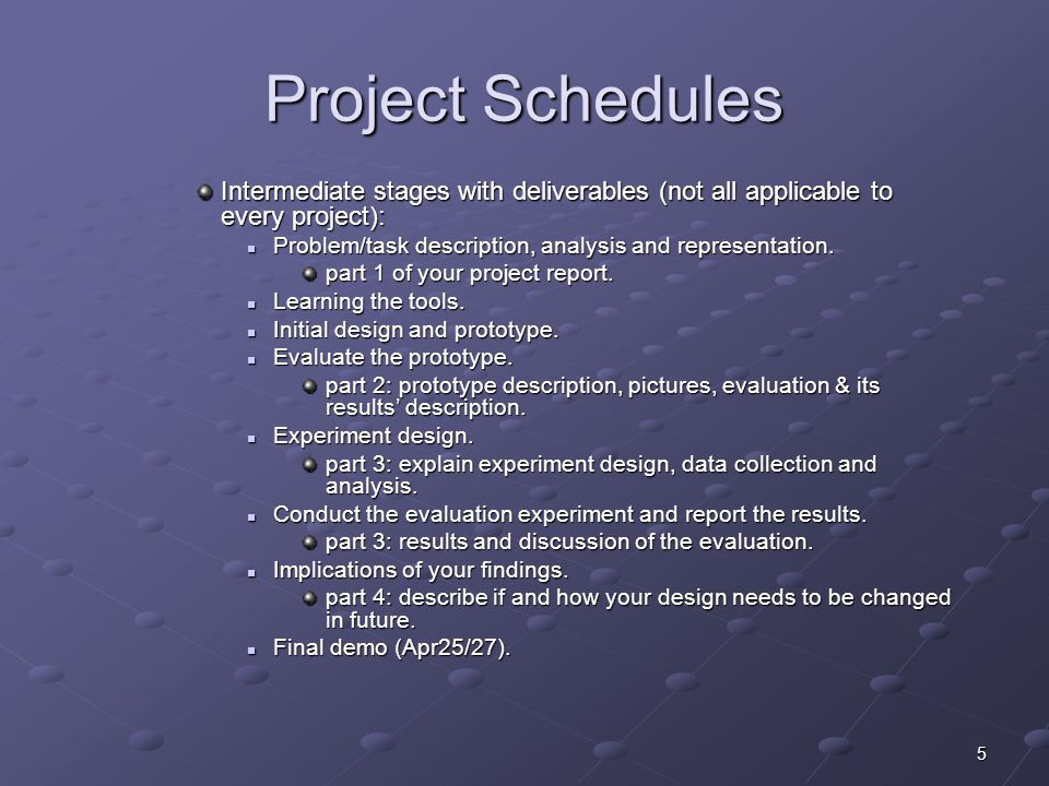 5 Project Schedules Intermediate stages with deliverables (not all applicable to every project): Problem/task description, analysis and representation.