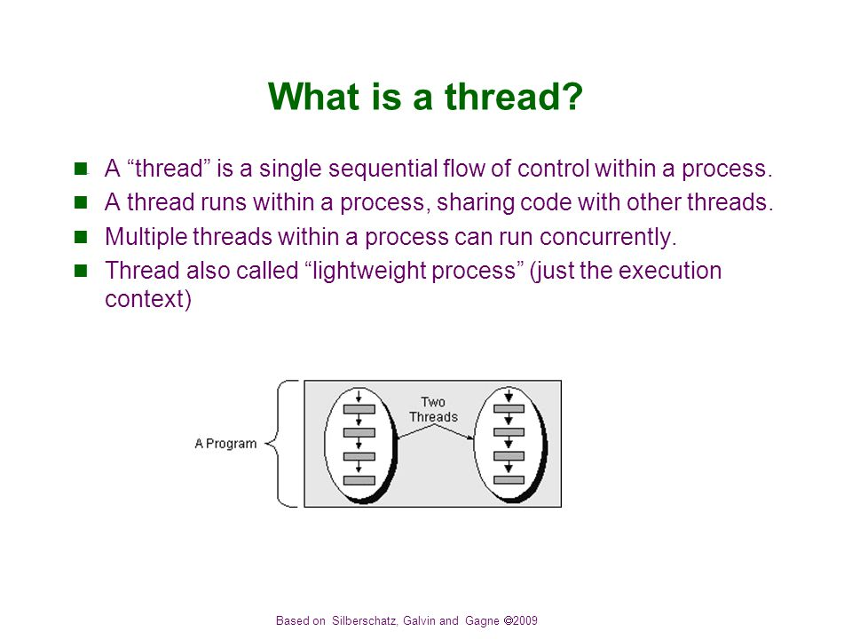 Based on Silberschatz, Galvin and Gagne  2009 What is a thread.