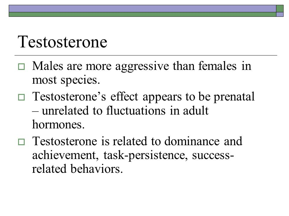 Testosterone  Males are more aggressive than females in most species.