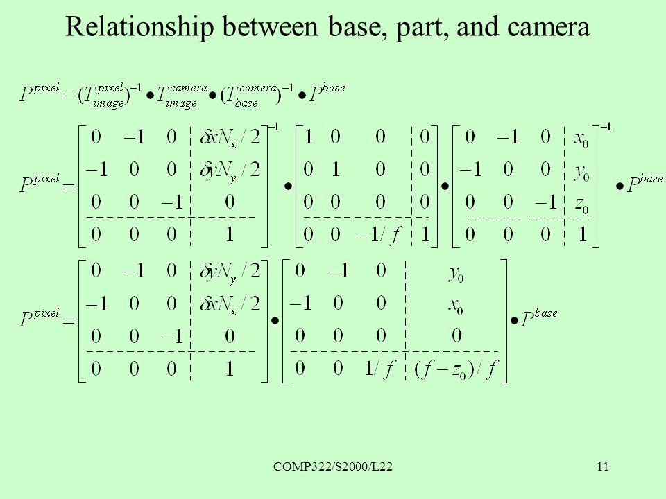 COMP322/S2000/L2211 Relationship between base, part, and camera