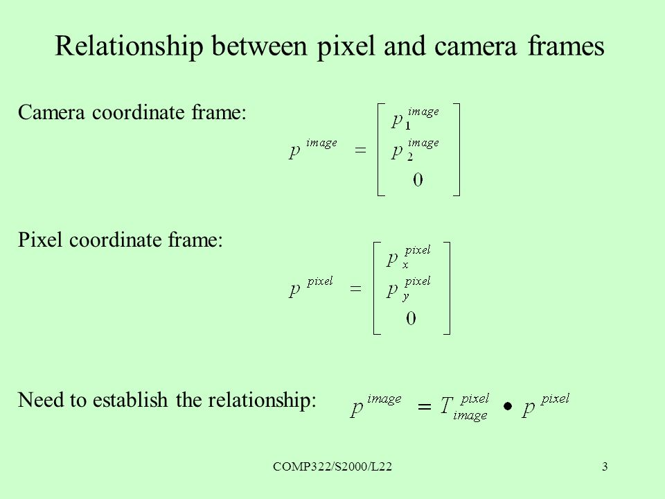 COMP322/S2000/L223 Relationship between pixel and camera frames Camera coordinate frame: Pixel coordinate frame: Need to establish the relationship: