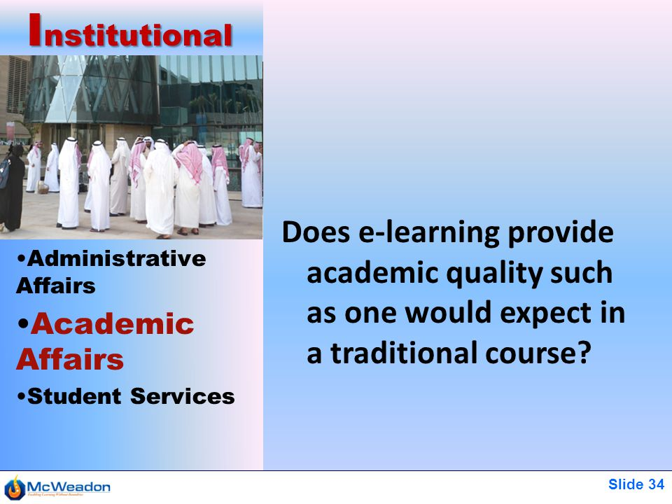 Slide 34 Administrative Affairs Academic Affairs Student Services I nstitutional Does e-learning provide academic quality such as one would expect in a traditional course