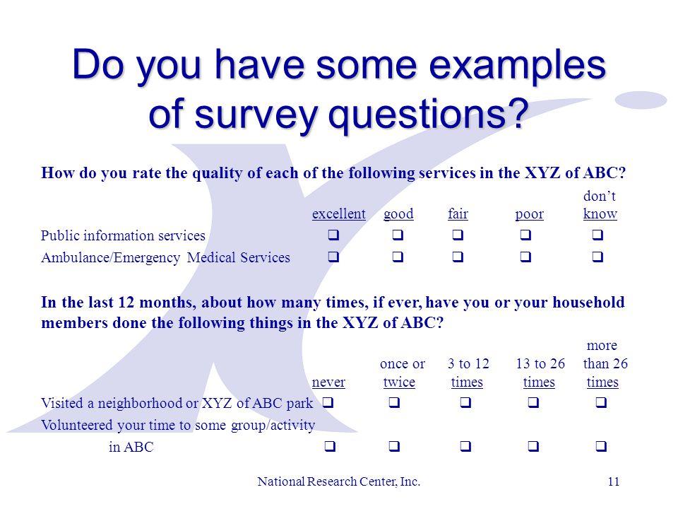 1 national research center inc 2 a turnkey citizen survey service