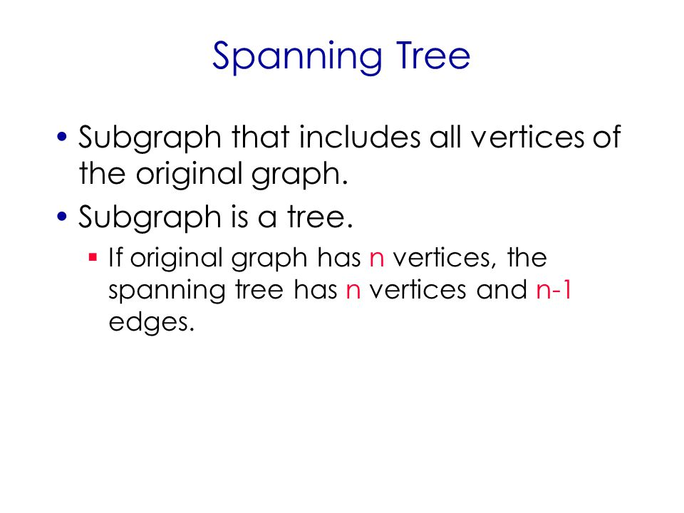 Spanning Tree Subgraph that includes all vertices of the original graph.