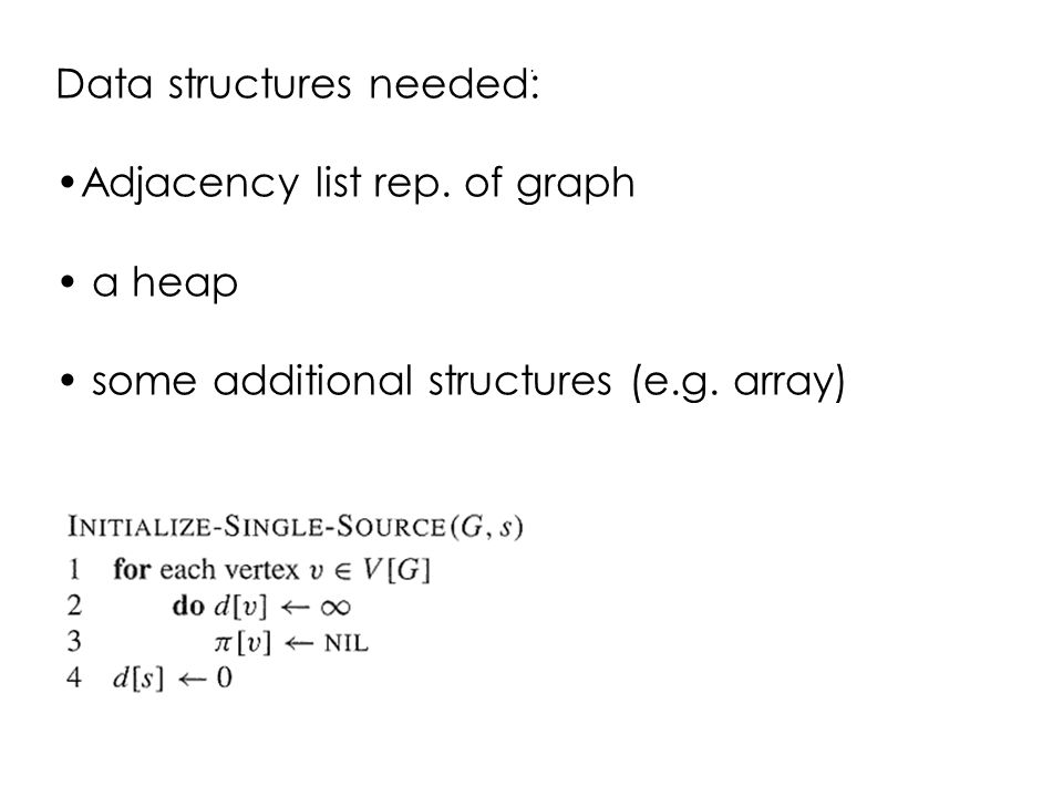 Data structures needed: Adjacency list rep. of graph a heap some additional structures (e.g.
