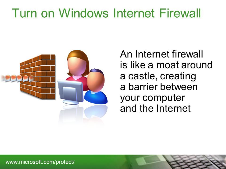 Turn on Windows Internet Firewall An Internet firewall is like a moat around a castle, creating a barrier between your computer and the Internet