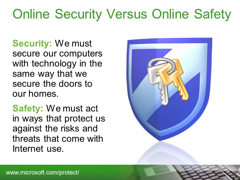 Online Security Versus Online Safety Security: We must secure our computers with technology in the same way that we secure the doors to our homes.