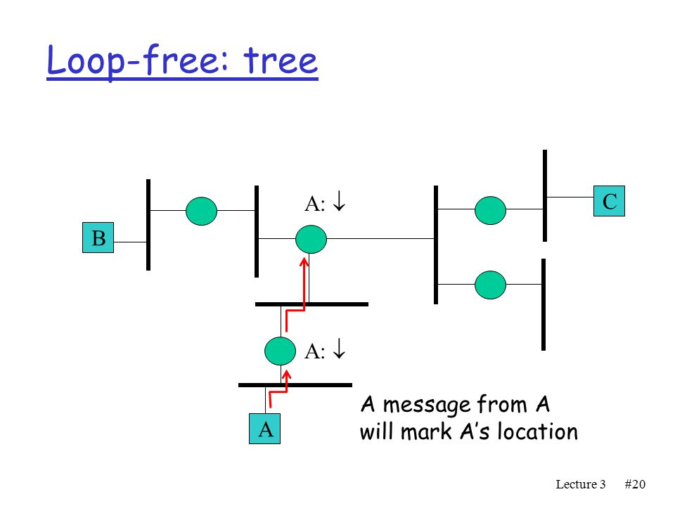 Lecture 3#20 Loop-free: tree A B C A:  A message from A will mark A's location