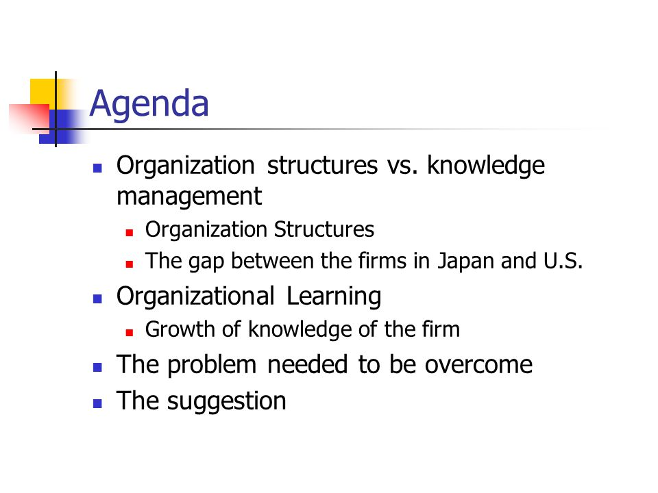 A Model Of Knowledge Management And N Form Corporation Organization Learning The Contributing Processes 2 Agenda