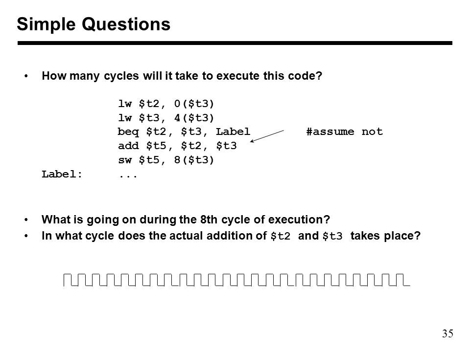 35 How many cycles will it take to execute this code.