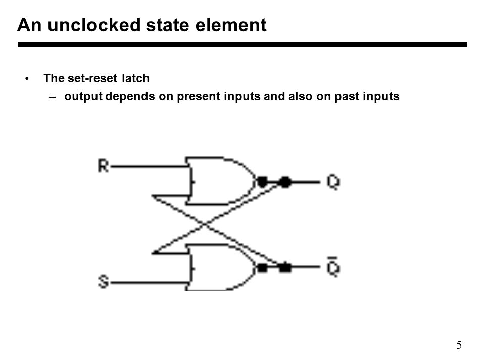 5 The set-reset latch –output depends on present inputs and also on past inputs An unclocked state element