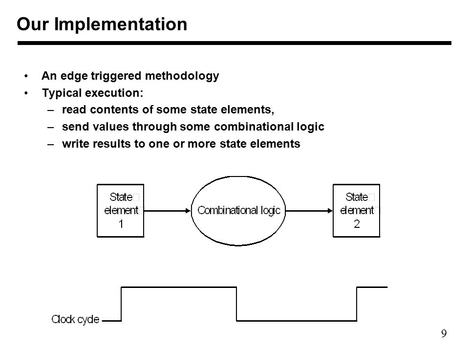9 Our Implementation An edge triggered methodology Typical execution: –read contents of some state elements, –send values through some combinational logic –write results to one or more state elements
