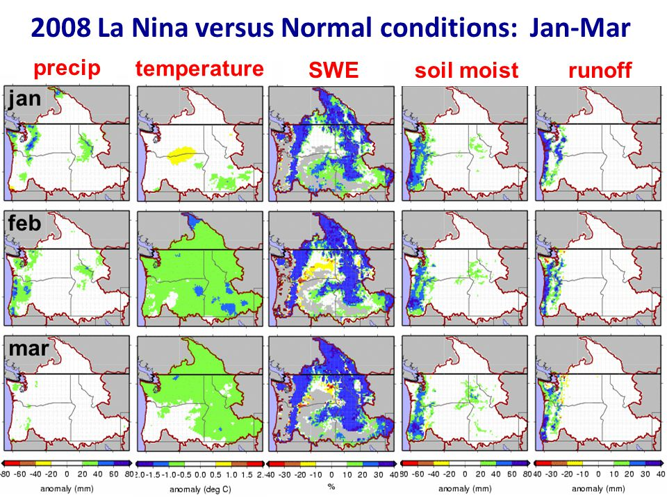 2008 La Nina versus Normal conditions: Jan-Mar jan feb mar precip temperature SWEsoil moistrunoff