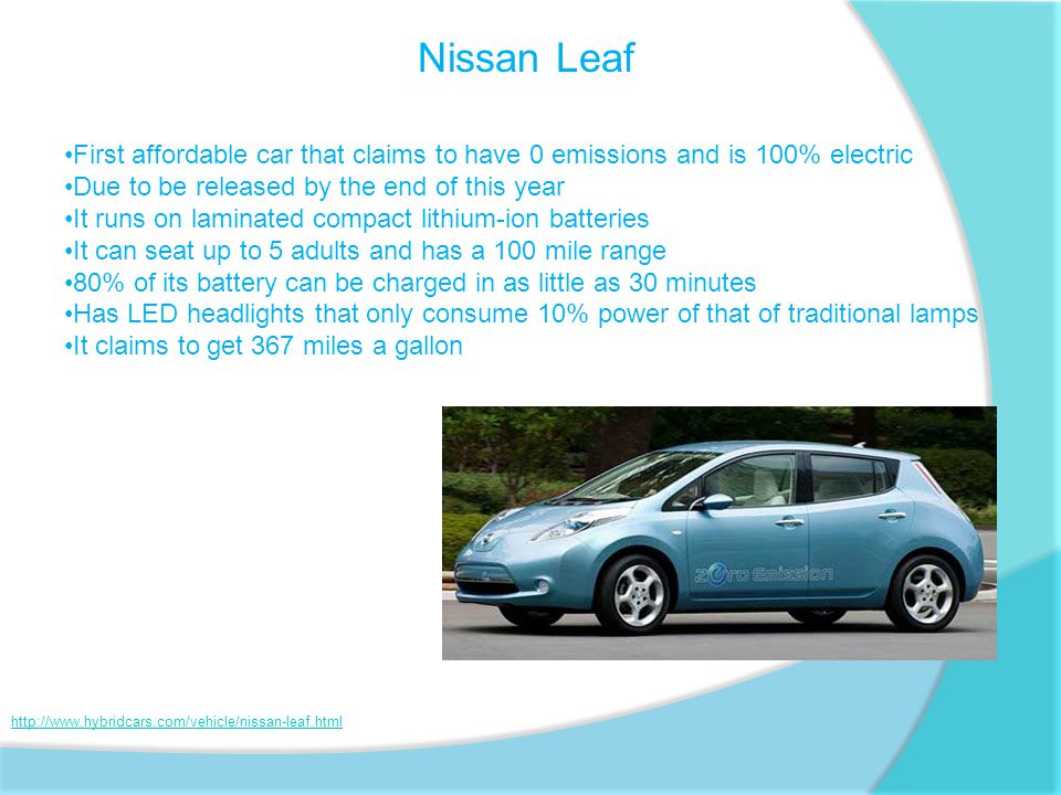 Nissan Leaf First affordable car that claims to have 0 emissions and is 100% electric Due to be released by the end of this year It runs on laminated compact lithium-ion batteries It can seat up to 5 adults and has a 100 mile range 80% of its battery can be charged in as little as 30 minutes Has LED headlights that only consume 10% power of that of traditional lamps It claims to get 367 miles a gallon