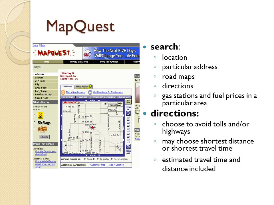 MAPPING TEAM Sara DuPont Taylor Graves CSCI WebBased - Mapquest distance