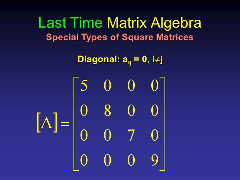 Last Time Matrix Algebra Diagonal: a ij = 0, i  j Special Types of Square Matrices