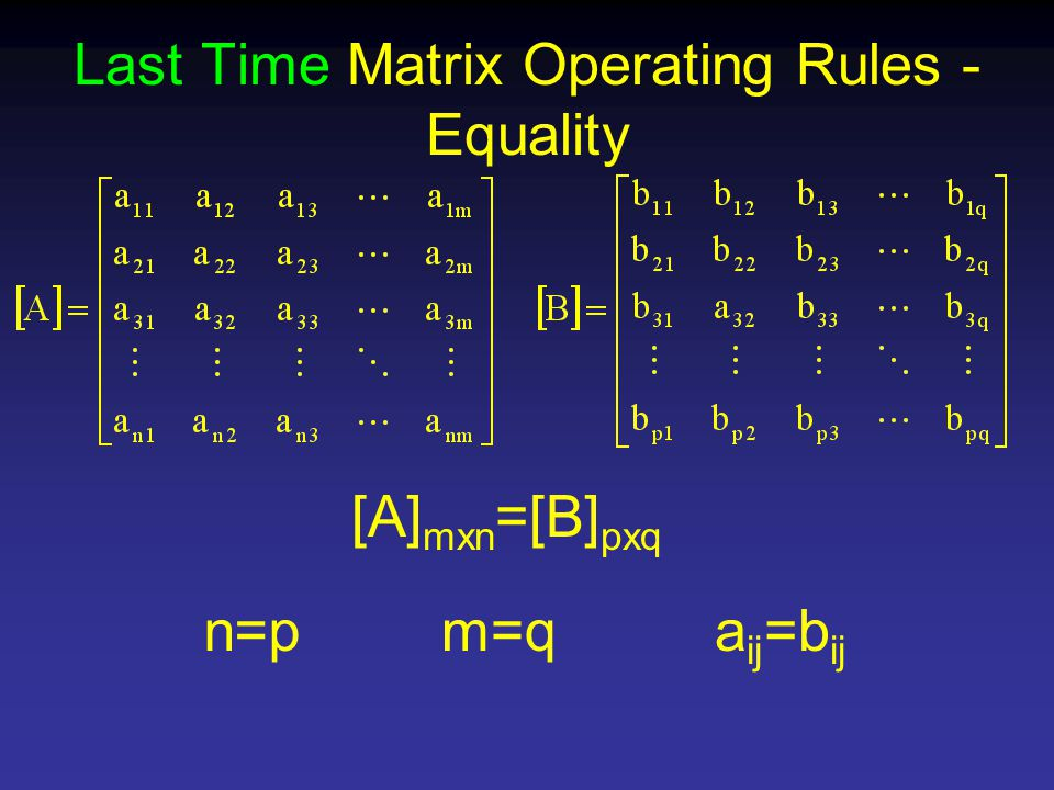 Last Time Matrix Operating Rules - Equality [A] mxn =[B] pxq n=pm=qa ij =b ij