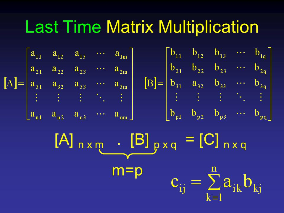 Last Time Matrix Multiplication [A] n x m. [B] p x q = [C] n x q m=p