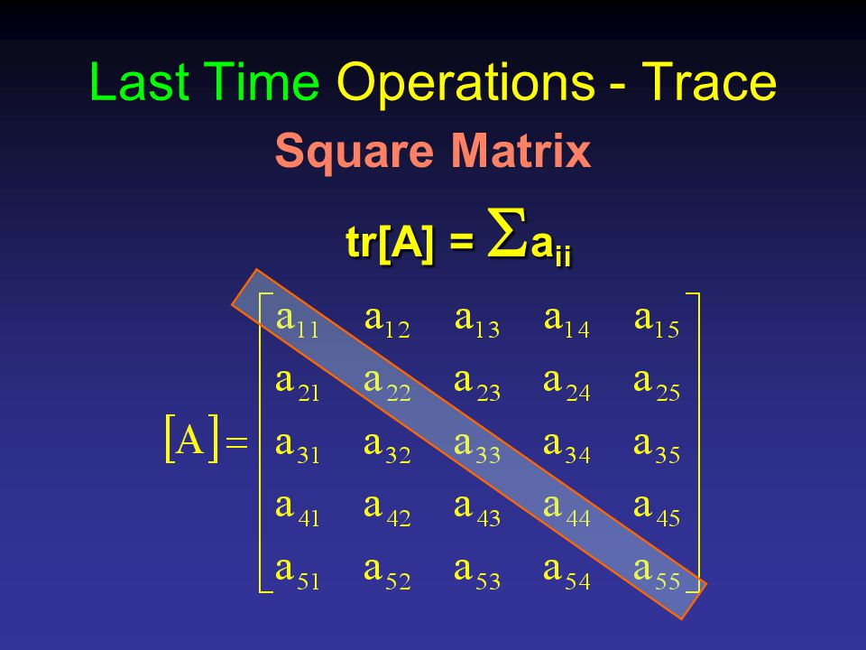Last Time Operations - Trace Square Matrix tr[A] =  a ii