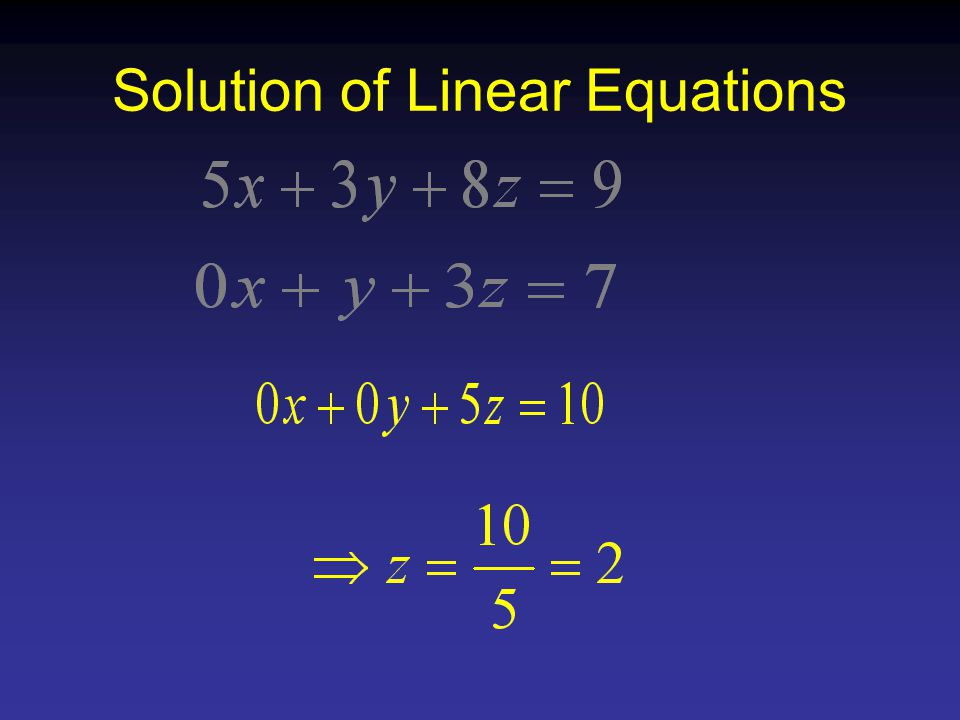Solution of Linear Equations