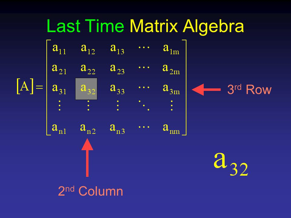 Last Time Matrix Algebra 3 rd Row 2 nd Column