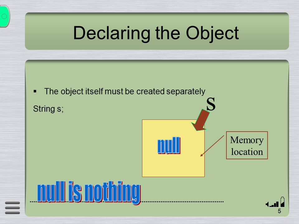 5 Declaring the Object  The object itself must be created separately String s; s Memory location