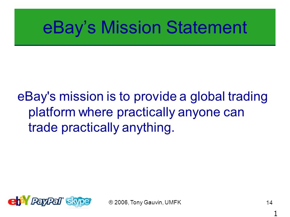 2006 Tony Gauvin Umfk 1 Ebay A Case Study In Strategic Management Tony Gauvin Umfk April Ppt Download
