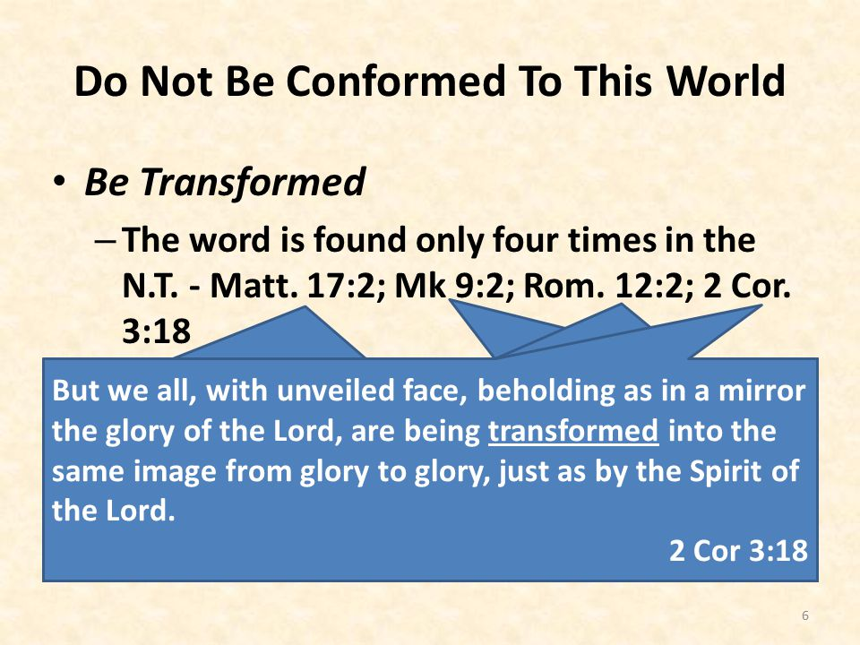 Do Not Be Conformed To This World Be Transformed – The word is found only four times in the N.T.