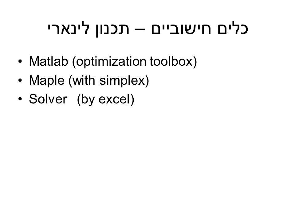 כלים חישוביים – תכנון לינארי Matlab (optimization toolbox