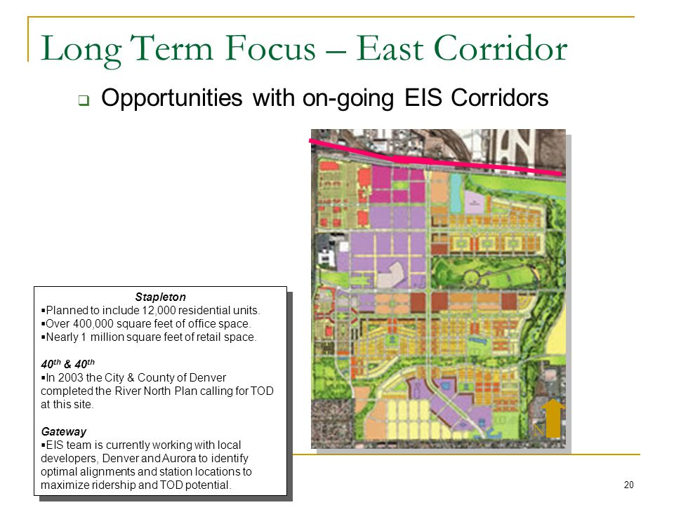 20 Long Term Focus – East Corridor  Opportunities with on-going EIS Corridors Stapleton  Planned to include 12,000 residential units.