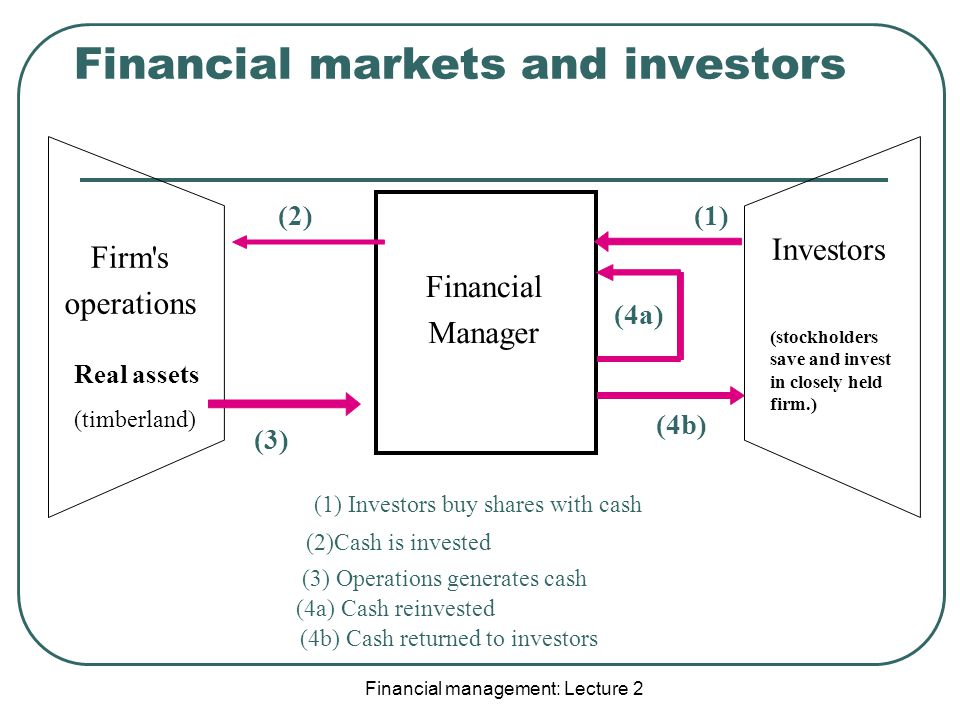Financial Manager Firm s operations Investors (1) Investors buy shares with cash (1) (2)Cash is invested (2) (3) Operations generates cash (3) (4a) Cash reinvested (4a) (4b) Cash returned to investors (4b) Financial markets and investors Real assets (timberland) (stockholders save and invest in closely held firm.)