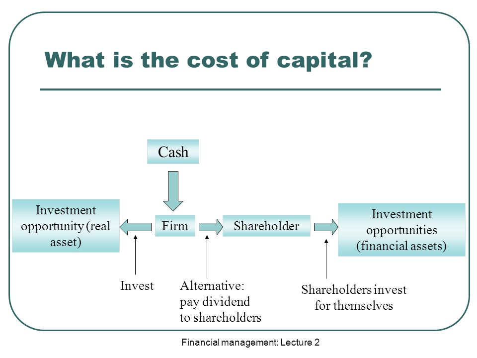 Financial management: Lecture 2 What is the cost of capital.