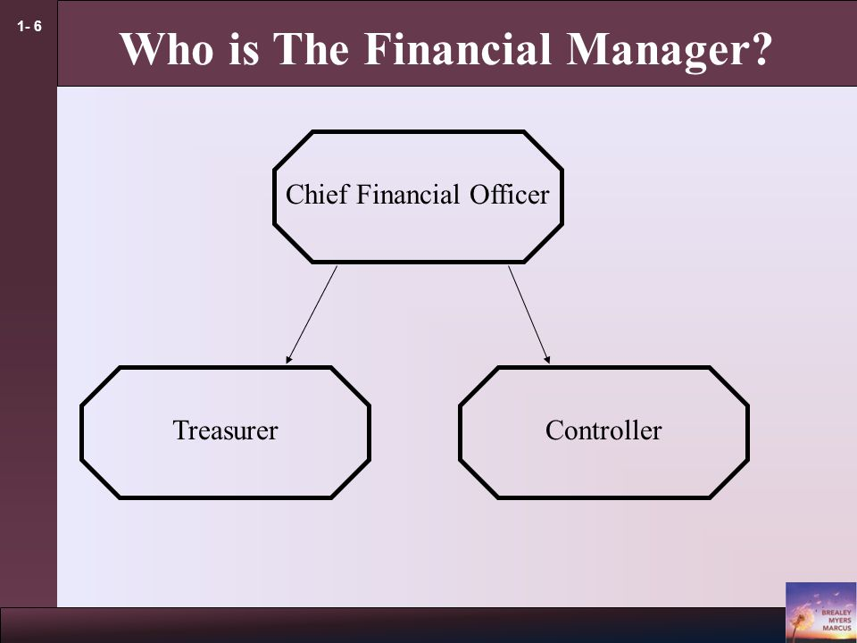 1- 6 Who is The Financial Manager Chief Financial Officer TreasurerController