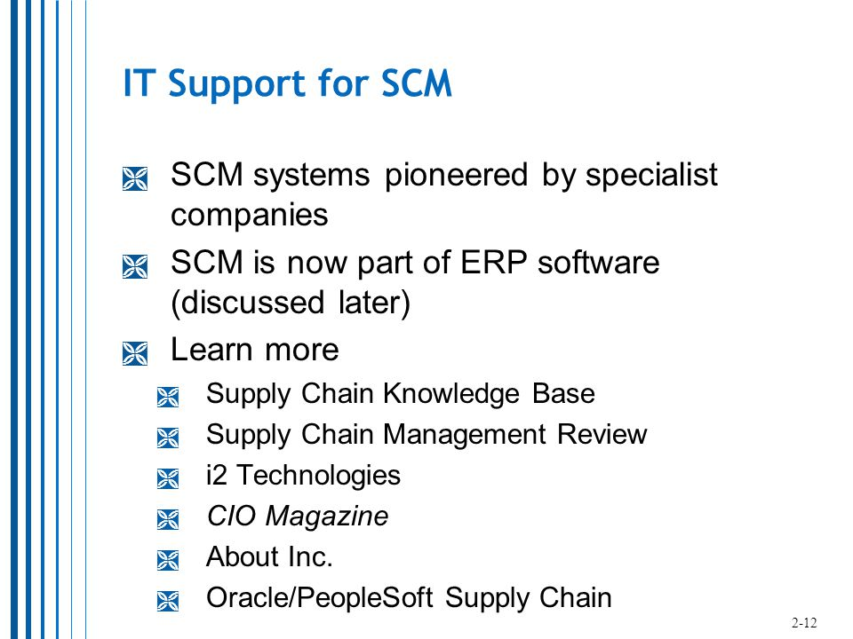 IT Support for SCM  SCM systems pioneered by specialist companies  SCM is now part of ERP software (discussed later)  Learn more  Supply Chain Knowledge Base  Supply Chain Management Review  i2 Technologies  CIO Magazine  About Inc.