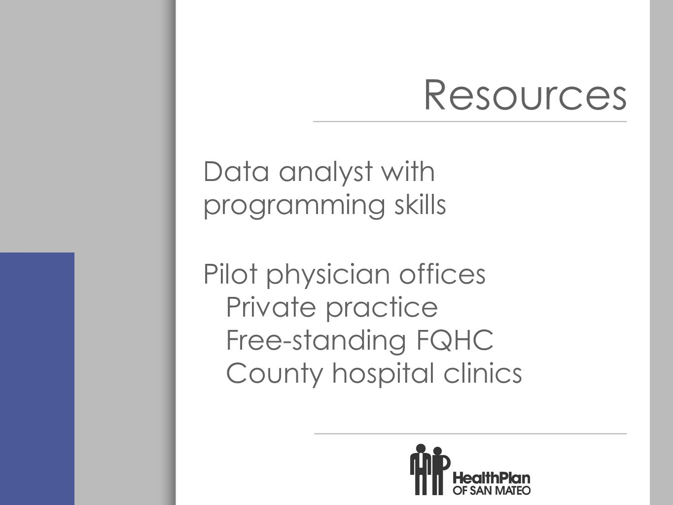Resources Data analyst with programming skills Pilot physician offices Private practice Free-standing FQHC County hospital clinics