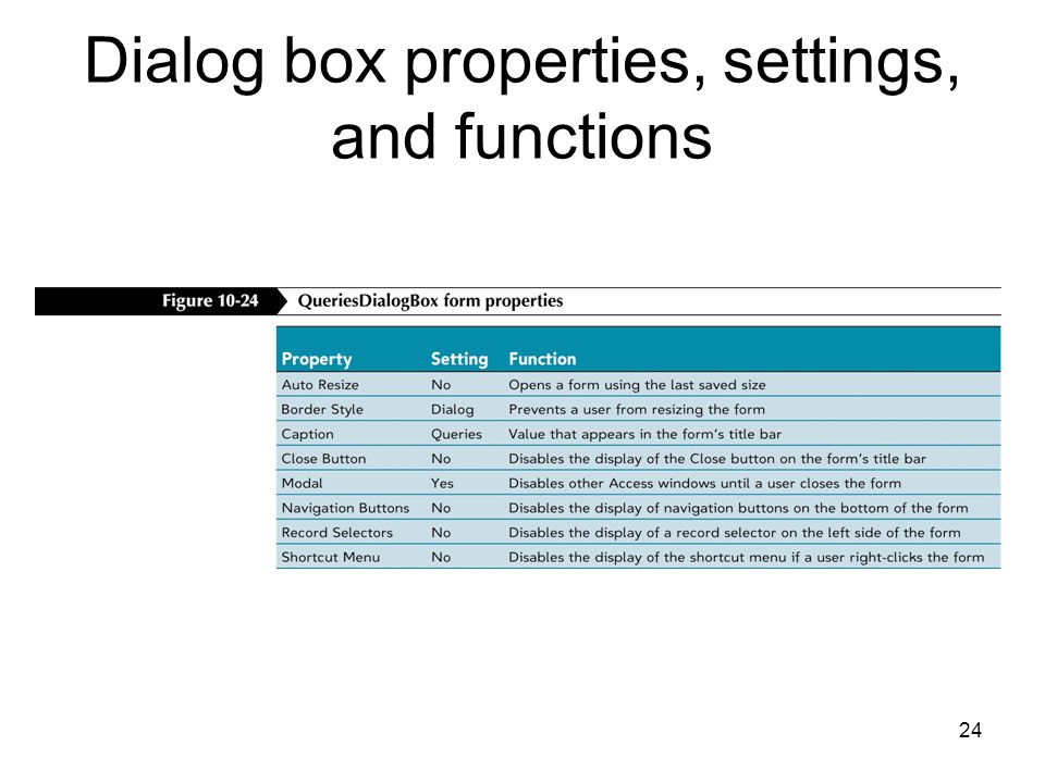 24 Dialog box properties, settings, and functions