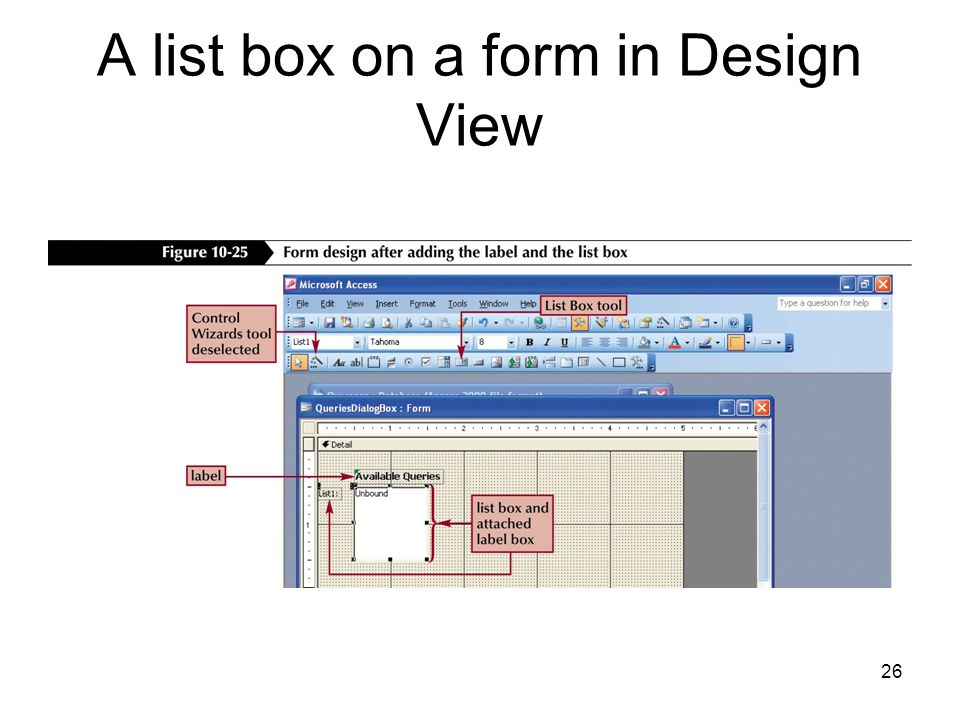 26 A list box on a form in Design View