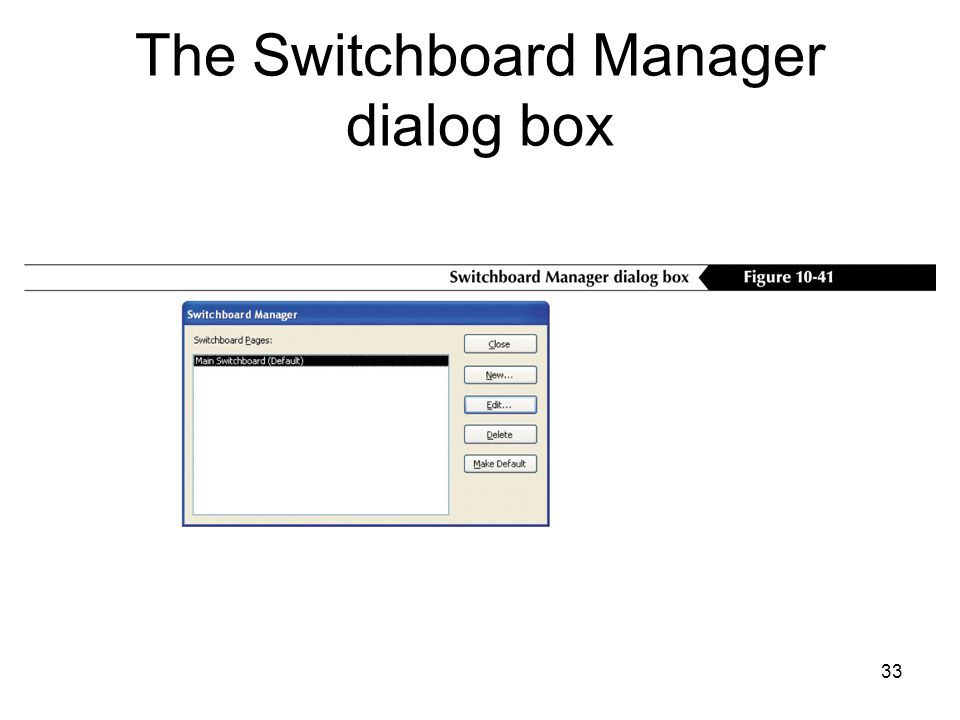 33 The Switchboard Manager dialog box