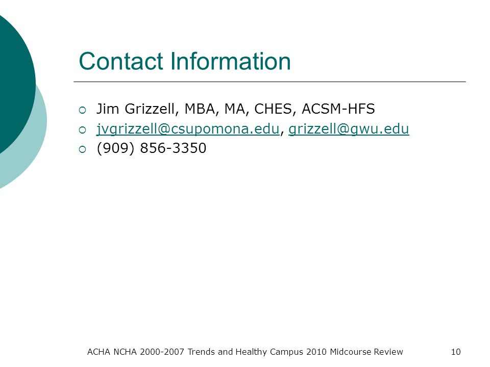 Contact Information  Jim Grizzell, MBA, MA, CHES, ACSM-HFS    (909) ACHA NCHA Trends and Healthy Campus 2010 Midcourse Review10