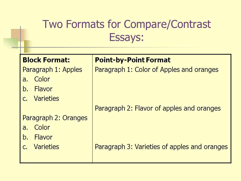 Block format for compare and contrast essay mistyhamel