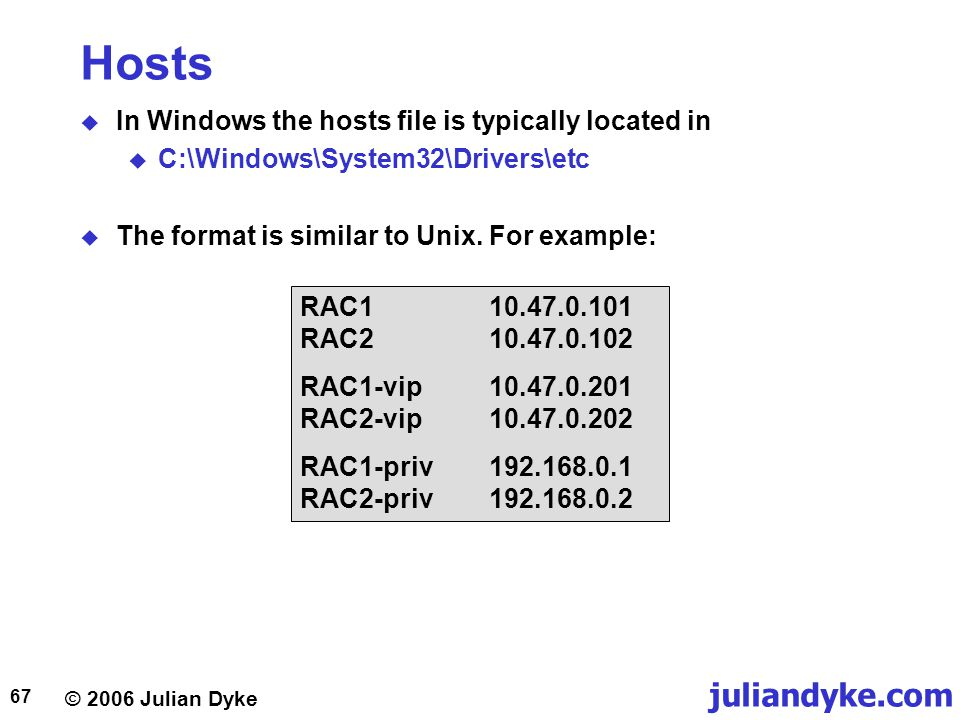© 2006 Julian Dyke juliandyke.com 67 Hosts  In Windows the hosts file is typically located in  C:\Windows\System32\Drivers\etc  The format is similar to Unix.