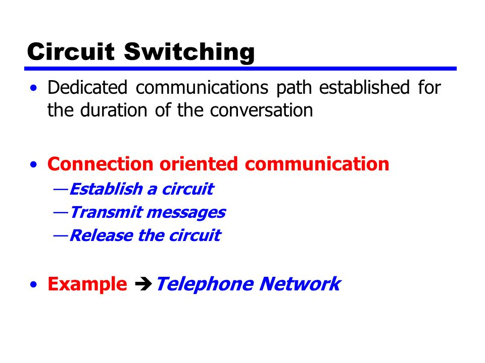 Circuit Switching Dedicated communications path established for the duration of the conversation Connection oriented communication —Establish a circuit —Transmit messages —Release the circuit Example  Telephone Network