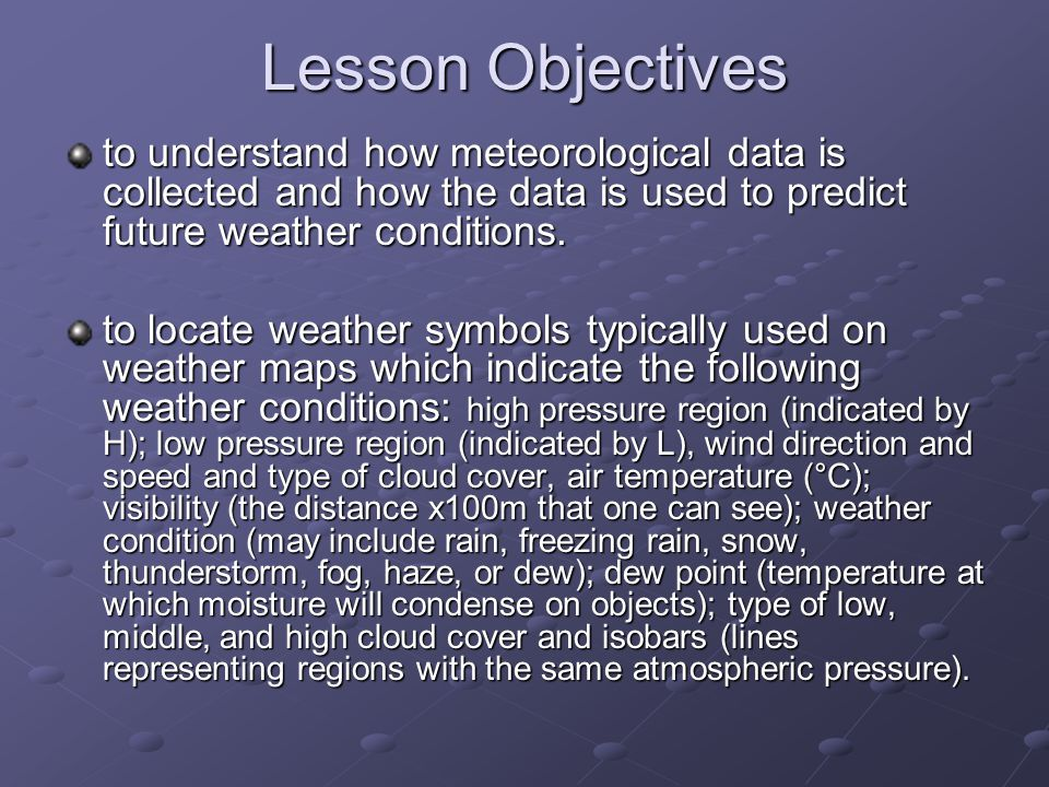 Weather Maps And Symbols Science Lesson Objectives To Understand How