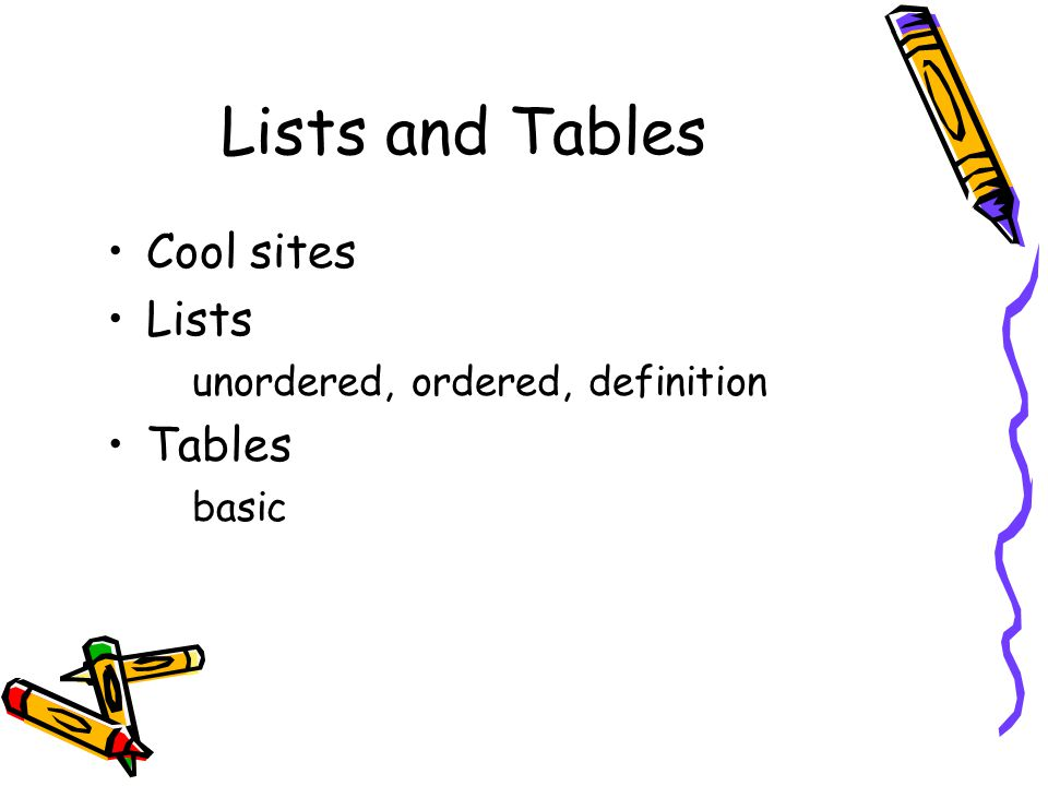 lists and tables cool sites lists unordered ordered definition