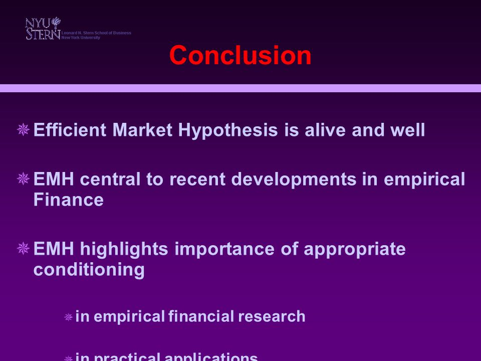 the importance of efficient market hypothesis emh in finance Abstract the efficient market hypothesis (emh) and behavioural finance (bf) form the blame-hope axis of the ongoing soul-searching exercise in economics, whic.